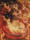 Burning Desire by Daniel Esparza Woman Face Tattoo Unstretched Canvas Art Print