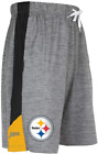 Zubaz NFL Football Mens Pittsburgh Steelers Gray Space Dye W/Solid Stripe Shorts $24.99 USD on eBay