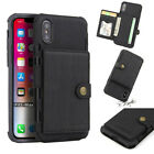 For iPhone XR XS Max 7 8 Plus Leather Card Slot Buckle Wallet Flip Case Cover