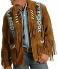Men New Style Western Cowboy Real Suede Leather Jacket with Fringes