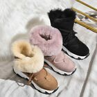Womens Fashion Winter Round Toe Fur Lining Snow Boots Wedge Mid Heels Ankle C830