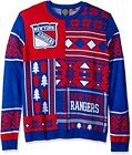Klew NHL Men's New York Rangers Patches Ugly Sweater, Blue/Red $31.95 USD on eBay