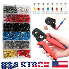 1200pcs Wire Terminal Connector Set w Ferrule Crimper Crimping Plier Tool Kit