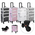 New Pro 3 in1 Aluminum Rolling Makeup Cosmetic Train Case Wheeled Box 4 Color