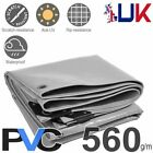 560GSM Heavy Duty Waterproof PVC Tarps Tarpaulin Cover Sheet Tough Lorry Grey