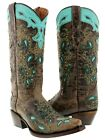 Womens Brown Leather Cowboy Boots Turquoise Overlay Paisley Studded Snip Toe