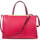 Dasein Croc Faux Leather Satchel with Removable image