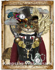 Cheshire Cat Steampunk Collage Art Repro Fabric Crazy Quilt Block Free Shipping