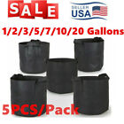 5Pcs Black Fabric Grow Pots Breathable Plant Bags Smart Plant with handle USA