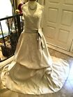 En Vogue Wedding dress Bridal gown embroidered beaded Lt.gold taupe sash 6 10