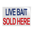 Decal Stickers Live Bait Sold Here Blue Red Vinyl Store Sign Label Retail