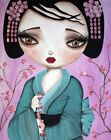 Little Geisha by Dottie Gleason Japanese Girl Cherry Blossoms Canvas Art Print
