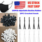 100pcs Buckle Rubber Adjust Elastic Cord + 1 Pc Crochet Hook For Diy Mask