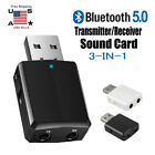 USB Bluetooth Adapter 5.0 Music Audio Receiver Transmitter Wireless Adapters NEW