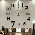 Modern DIY 3D Large Number Wall Clock Mirror Sticker Decor Office Kids Room SH