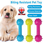 Dog Rubber Teething Chew Toy 14CM Bone Play Training Barbell Barbed Dumbbell NEW
