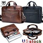 Bullcaptain Men Genuine Leather Business Briefcase Laptop Messenger Shoulder Bag