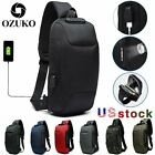 Ozuko Mens Anti-theft Lock Shoulder Chest Bag With Usb Oxford Travel Backpack Us