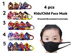 4 pcs Boys Girl Child Reusable Washable Face Mask Breathable Mouth/Nose US SHIP