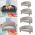 Vintage Wicker Pet Dog Cat Bed Raised Sofa Couch Sleeping Nest Basket Chair Bed