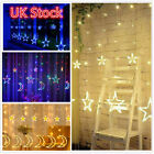 Curtain Wedding Fairy Light Moon Star Led String Lights Xmas Home Decor Uk Plug