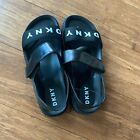 DKNY Womens Black & White Comfy Strappy Sandals Slip on Open toe Sandals NEW