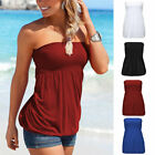 Women Strapless Vest Tops Tube Ladies Summer Sleeveless Bandeau Tank Blouse Tee