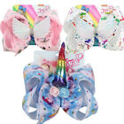 "FLY 8"" JOJO SIWA cartoon Unicorn Wing hair bow with clip girls kids gift bowknot"