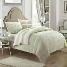 Chloe Plush Microsuede Sherpa Lined Beige King 7 Piece Comforter Bed In A Bag... image
