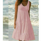 Plus Size Women Sleeveless Solid Vest Dress Ladies Summer Beach Frill Midi Dress
