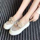 Womens Trendy Beads Hollow Out Round Toe Platform Shoes Creeper Boots Loafers