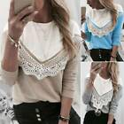 Women Long Sleeve Pullover Lace Patchwork Shirt Jumper Casual Loose Blouse Top