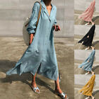 UK Womens Long Sleeve Cotton Linen Shirt Dress Casual Loose Kaftan Tunic Dresses