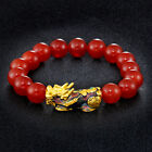 Feng Shui Green Onyx Black Obsidian Beads Wealth Golden Pixiu Lucky Bracelet ^ly