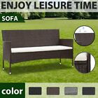 Vidaxl 3-seater Garden Sofa With Cushions Poly Rattan Seating Multi Colours