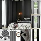 Thick Thermal 100% Blackout Curtain Eyelet Ring Top Ready Made Pair Lined Panel