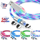LED Flowing Glow USB Light up Flashing Charger Cable For iPhone Android Type-C