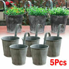 5x Metal Flower Pot Hanging Balcony Garden Fence Plant Planter Home Wall Decor