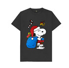 Snoopy Santa Claus Merry Xmas Christmas Holiday Peanuts Black T-Shirt S-6XL M01
