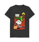 Snoopy Santa Claus Fireplace Xmas Holiday Christmas Funny Black T-Shirt S6XL M01