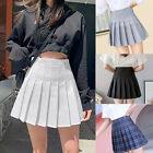 WOMEN HIGH WAIST A LINE SKATER MINI SKIRT PLEATED SHORT SCHOOL SKIRT DRESS USA