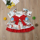 Christmas Toddler Kid Baby Girls Print Costume Party Floral Horn Sleeve Dress