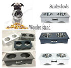 2 in 1 Pets Feeder Dog Water & Food Bowl Travel Outdoor Wooden Frame For Cat Dog