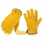 Vgo 1/2/3/9 Pairs Unlined Cowhide Split Leather Work Gloves,Heavy Duty(CB9501-G)
