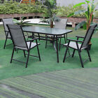 Garden Table & Chairs Set Patio Balcony Glass Table Folding Chair Set 4/6 Seater