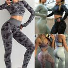 Womens Seamless Camo Ruched Yoga Suit Crop Top+Leggings Pants Workout Sports Set