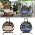 Double Swing Egg Chair Wicker Hanging With Stand & Cushion Outdoor Garden Patio