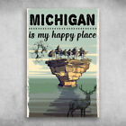 Michigan Is My Happy Place With The Deer Canvas .75in Mother Gift