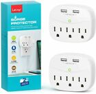 1/2PACK LETMY 3 Outlet Surge Protector With 2 USB Charger Ports Wall Adapter Tap