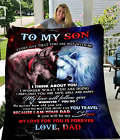 To My Son My Love For You Is Forever Wolf Lion Family Gift Sherpa Fleece Blanket